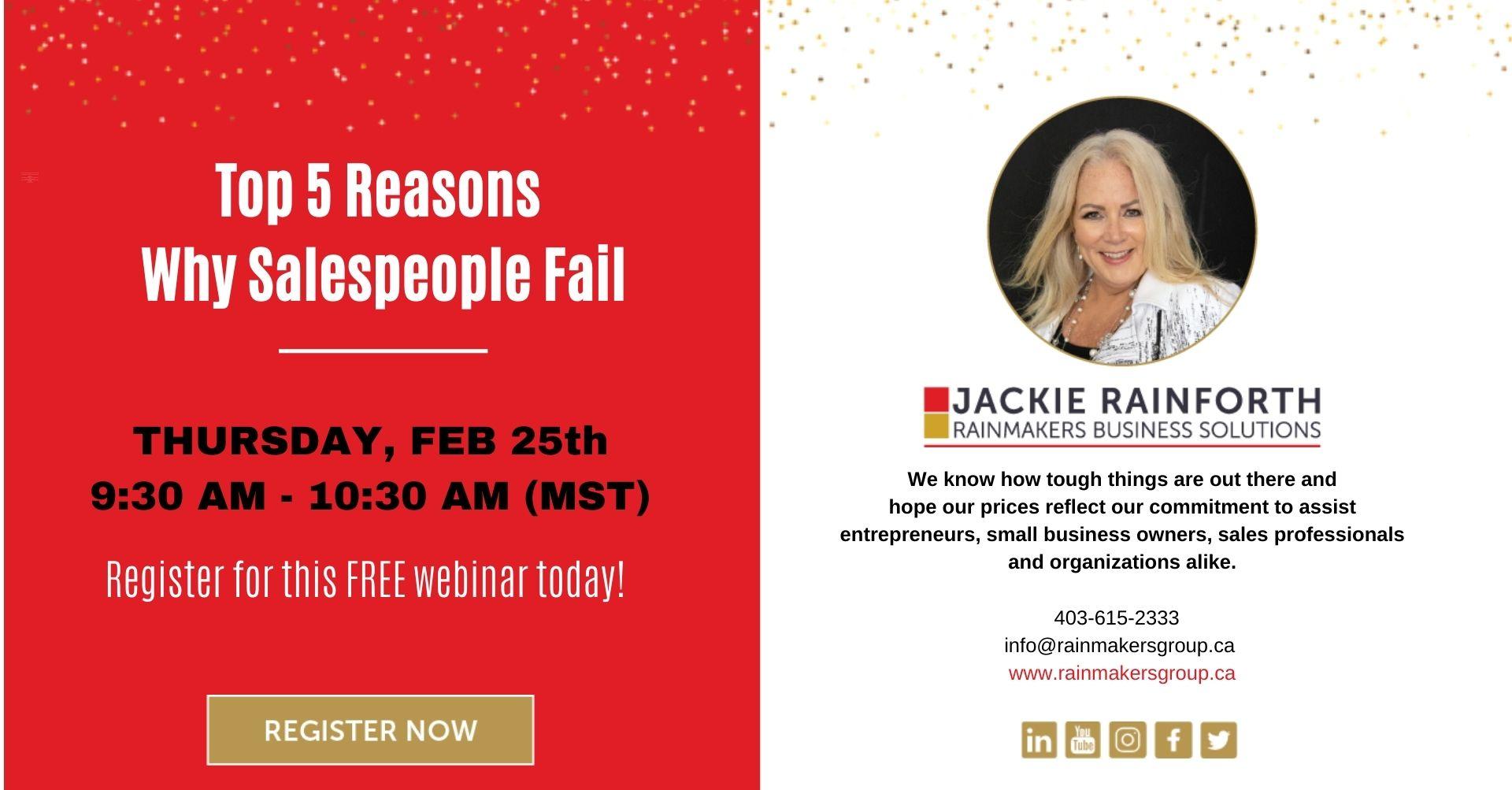 reasons salespeople fail, free webinar, feb 25
